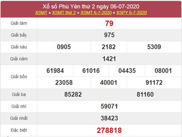 Thống kê XSPY 13/7/2020 chốt KQXS Phú Yên thứ 2